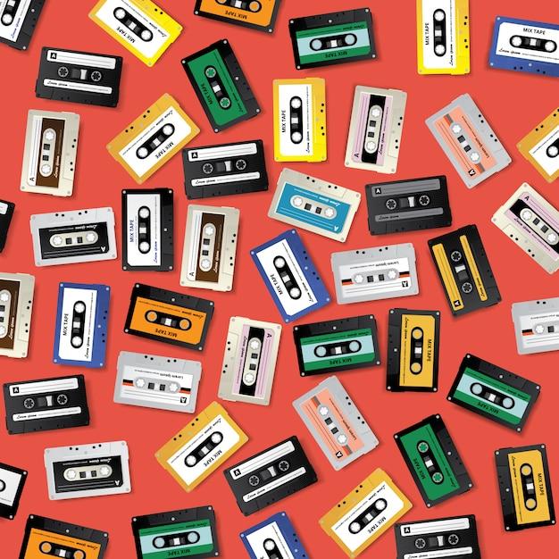 Plantilla de diseño de patrón de cinta de cassette retro vintage Vector Premium
