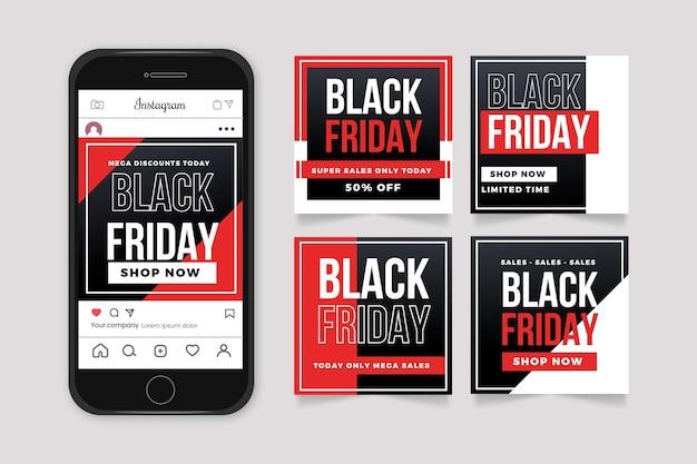 Plantilla de diseño plano colección de publicaciones de instagram de viernes negro vector gratuito