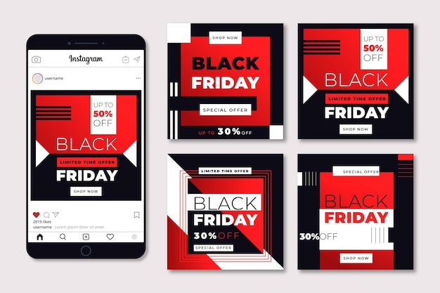 Plantilla de diseño plano conjunto de publicaciones de instagram de viernes negro Vector Premium