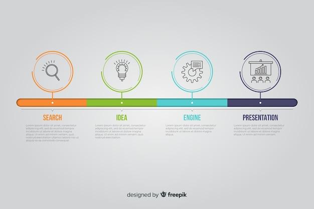 Plantilla de diseño plano línea de tiempo infografía Vector Premium