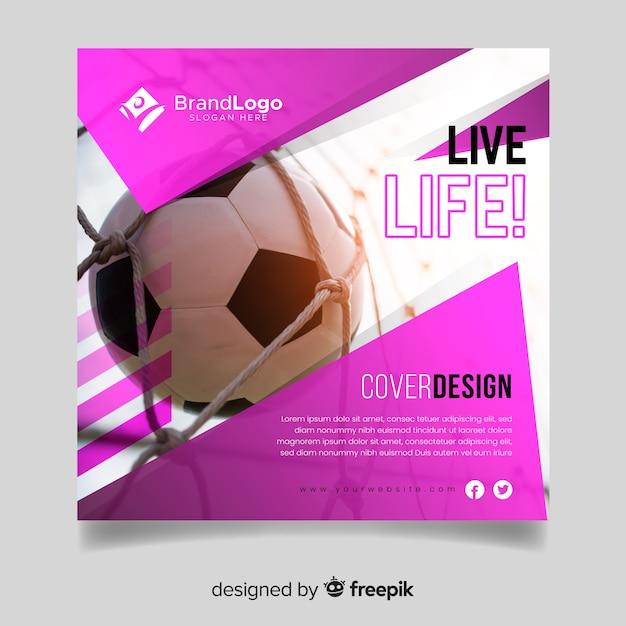 Plantilla de diseño de portada de deporte con foto vector gratuito