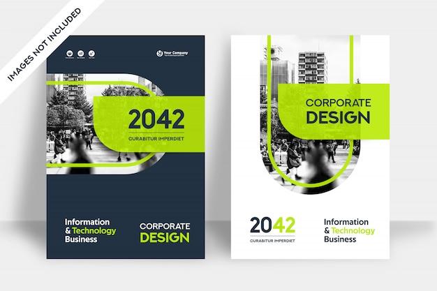 Plantilla de diseño de portada de libro de negocios de fondo de la ciudad Vector Premium