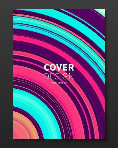 Plantilla de diseño de portada de vector con líneas deformadas de color degradado. vector gratuito