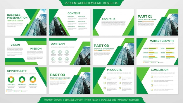 Plantilla de diseño de presentación comercial Vector Premium