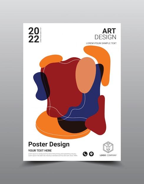 Plantilla de diseño de revista de cartel creativo. fondo abstracto fresco Vector Premium