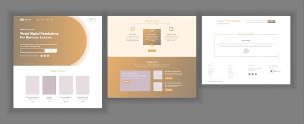 Plantilla de diseño de sitio web Vector Premium