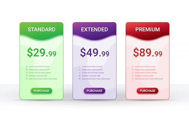 Plantilla de diseño de tabla de comparación de precios para tres productos, Vector Premium