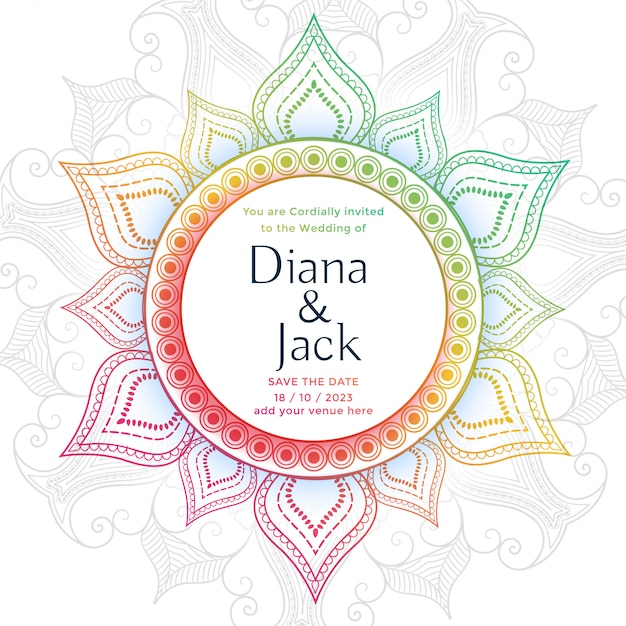 Plantilla de diseño de tarjeta de boda mandala decorativa vector gratuito