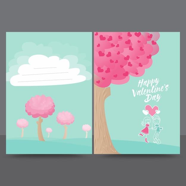 Plantilla de diseño de tarjeta de felicitación de love tree valentine Vector Premium