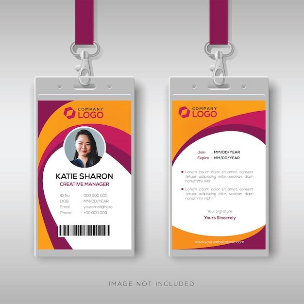 Plantilla de diseño de tarjeta de identificación creativa Vector Premium