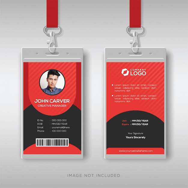Plantilla de diseño de tarjeta de identificación roja multiusos Vector Premium