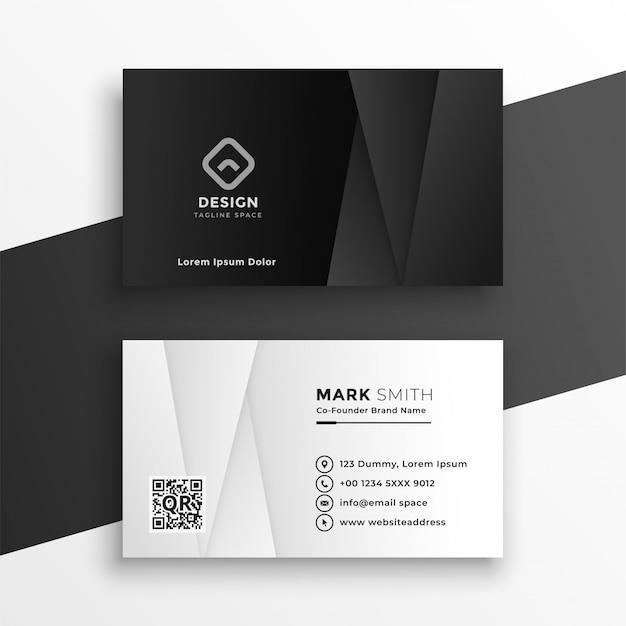 Plantilla de diseño de tarjeta de visita geométrica en blanco y negro vector gratuito