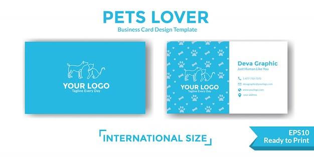 Plantilla de diseño de tarjeta de visita de mascotas Vector Premium