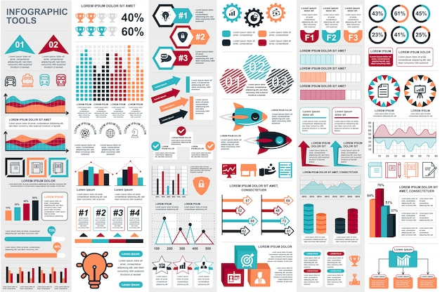 Plantilla de diseño de vector de visualización de datos de elementos de infografía Vector Premium