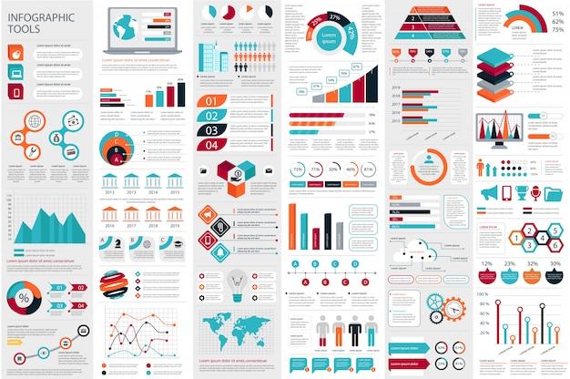 Plantilla de diseño de vector de visualización de datos elementos infográficos Vector Premium
