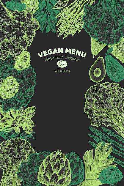 Plantilla de diseño vegetal verde Vector Premium