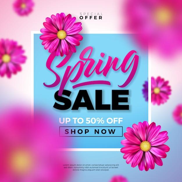 Plantilla de diseño de venta de primavera con flores de colores y letra de tipografía sobre fondo azul. vector gratuito