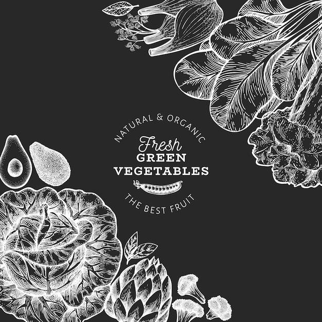 Plantilla de diseño de verduras verdes. mano dibuja la ilustración de alimentos vector en pizarra. marco vegetal de estilo grabado. Vector Premium