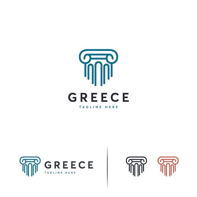 Plantilla de diseños de logotipo de pilar de lujo, logotipo de la firma de abogados Vector Premium
