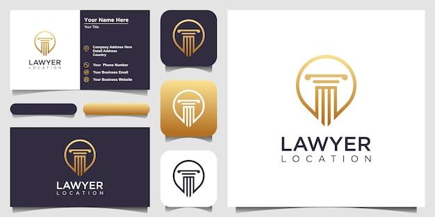 Plantilla de diseños de logotipos de abogados y abogados con estilo de arte lineal y tarjetas de visita Vector Premium