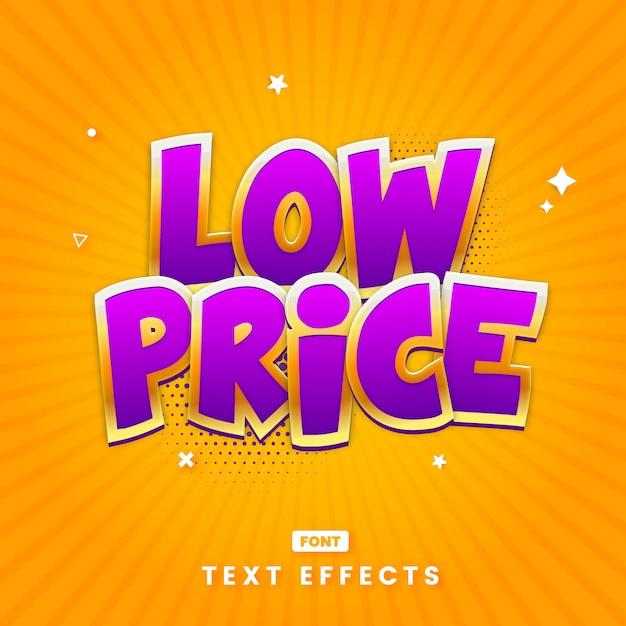 Plantilla de efecto de estilo de texto de título de bajo precio Vector Premium