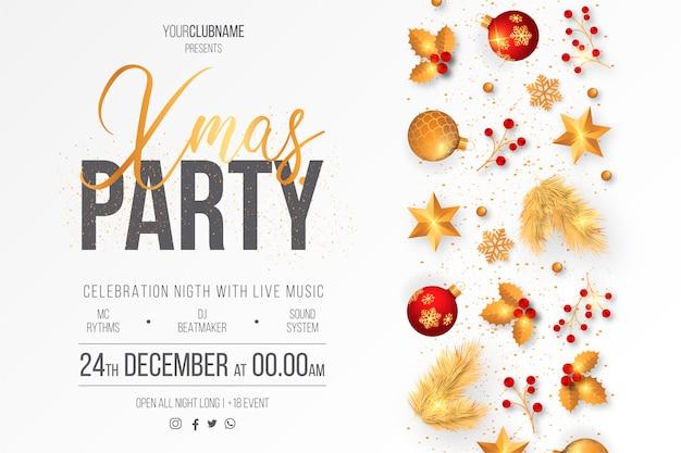 Plantilla elegante del cartel de la fiesta de navidad vector gratuito