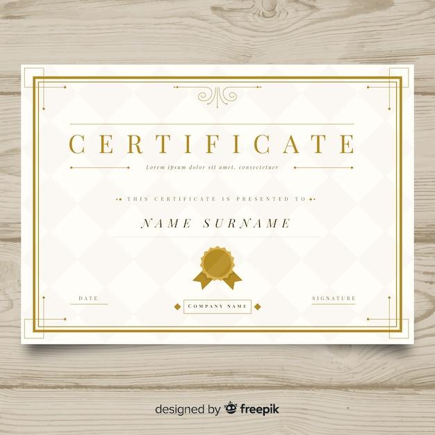 Plantilla elegante de certificado con diseño dorado vector gratuito