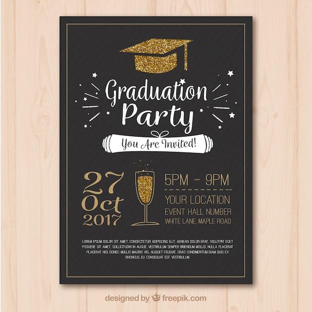 Plantilla elegante de cartel de fiesta de graduación con elementos ...