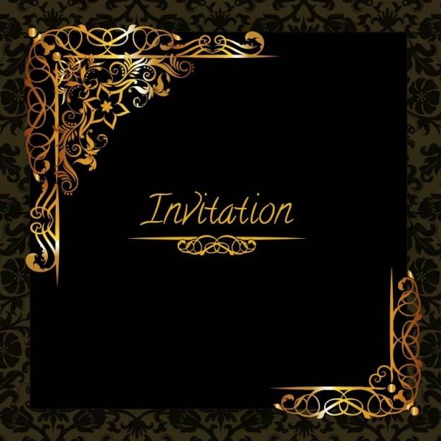 plantilla elegante de invitaci u00f3n con adornos de oro