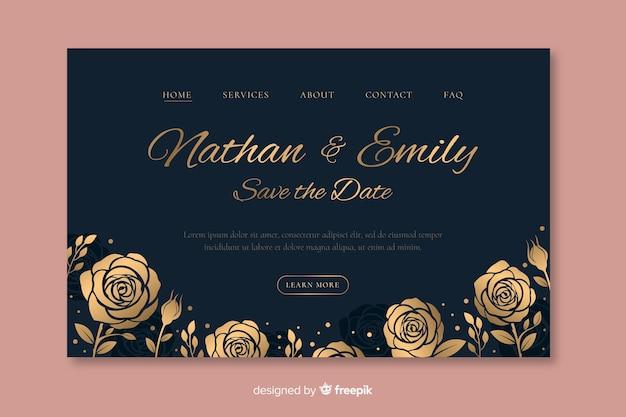 Plantilla elegante dibujada de landing page de boda vector gratuito