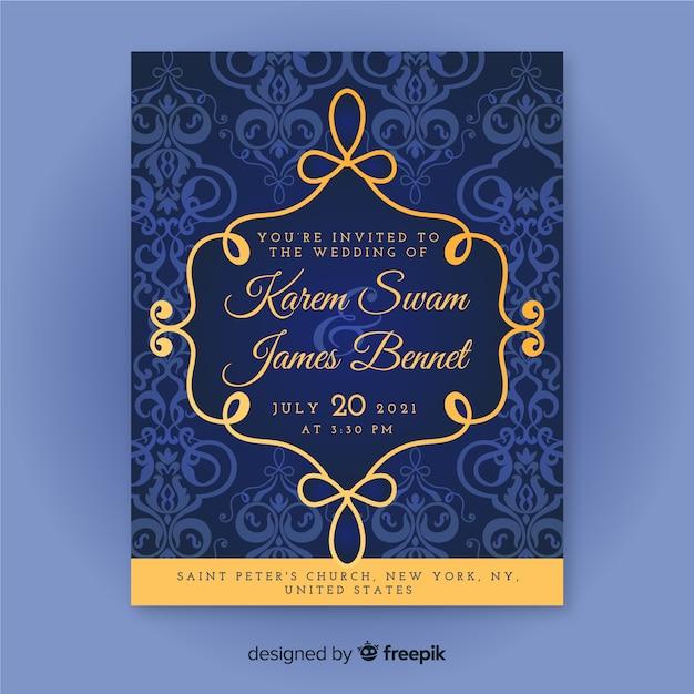 Plantilla elegante de la invitación de la boda del damasco vector gratuito