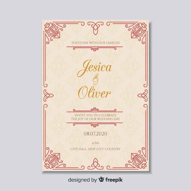 Plantilla elegante de invitación de boda vector gratuito