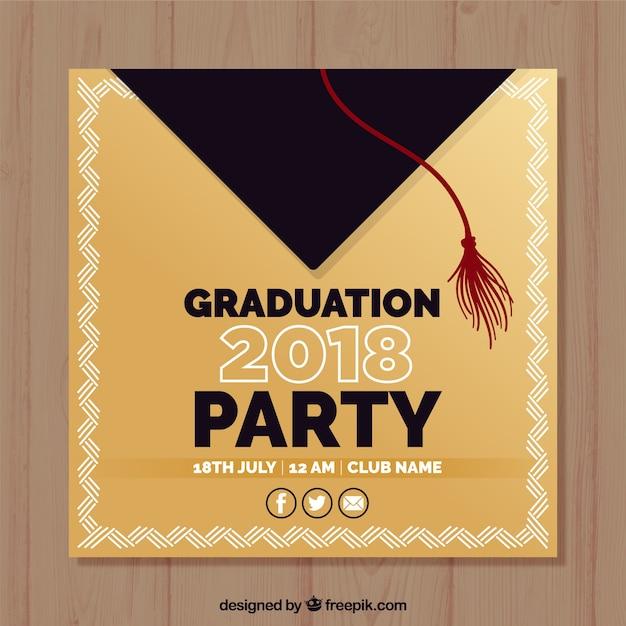 Plantilla elegante de invitación a fiesta de graduación con diseño plano vector gratuito