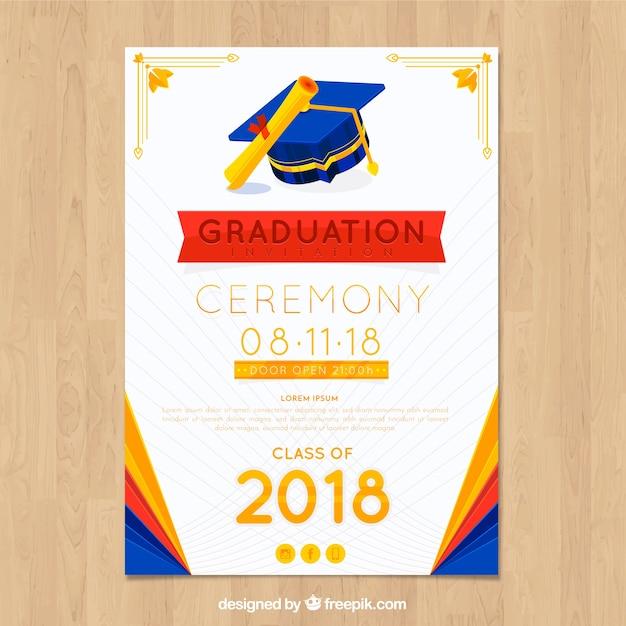 Plantilla elegante de invitación a graduación con diseño plano vector gratuito