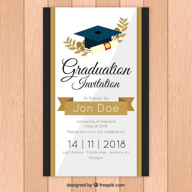 plantilla elegante de invitaci u00f3n a graduaci u00f3n con estilo