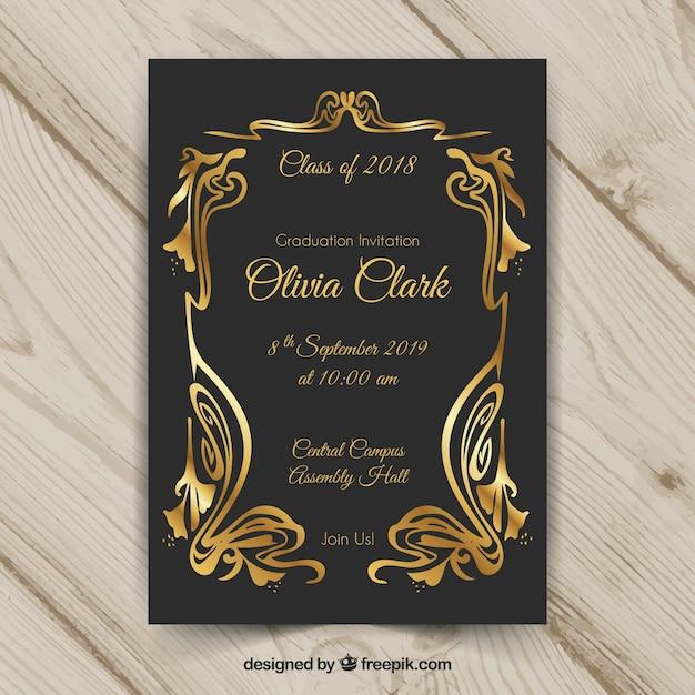 Plantilla elegante de invitación a graduación con estilo dorado vector gratuito