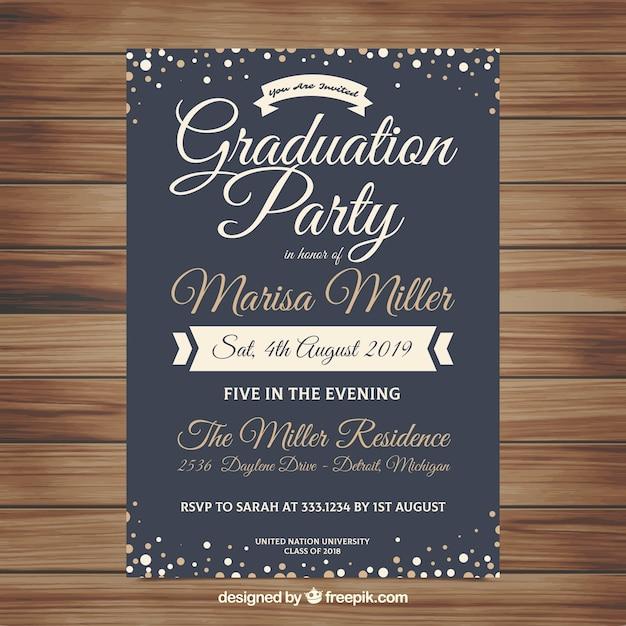 Plantilla Elegante De Invitación De Graduación Vector Gratis