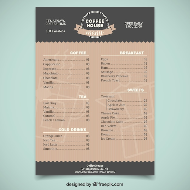 Plantilla elegante de menú de cafetería vector gratuito