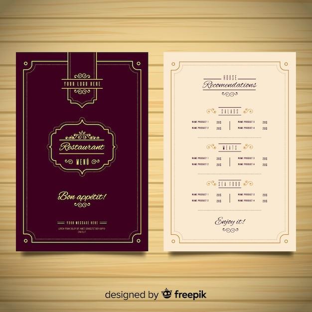 Plantilla elegante de menú de restaurante con adornos vintage vector gratuito
