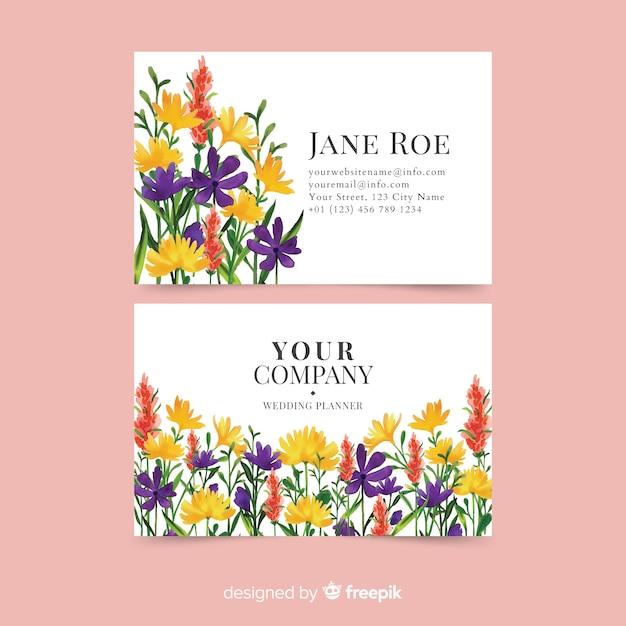 Plantilla elegante de la tarjeta de visita floral de la acuarela vector gratuito