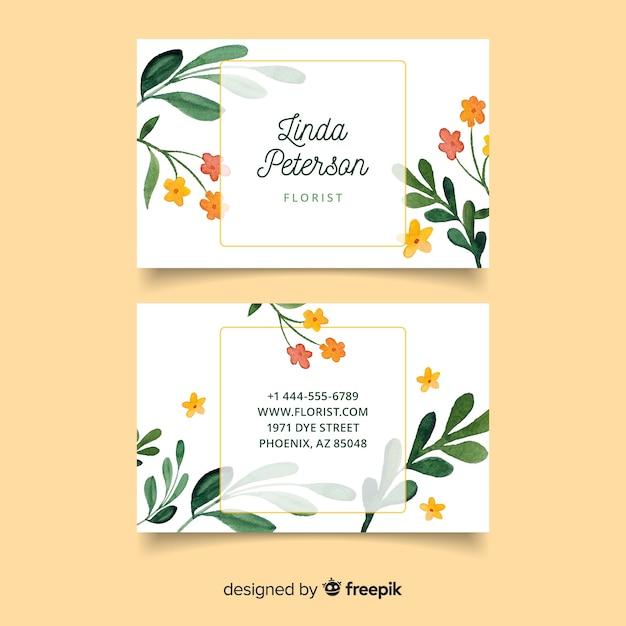 Plantilla elegante tarjeta de visita floral vector gratuito