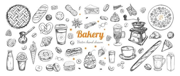 Plantilla de elementos dibujados a mano de café y panadería con ilustraciones de bocetos vintage Vector Premium