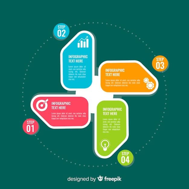 Plantilla de elementos infográficos de pasos coloridos vector gratuito