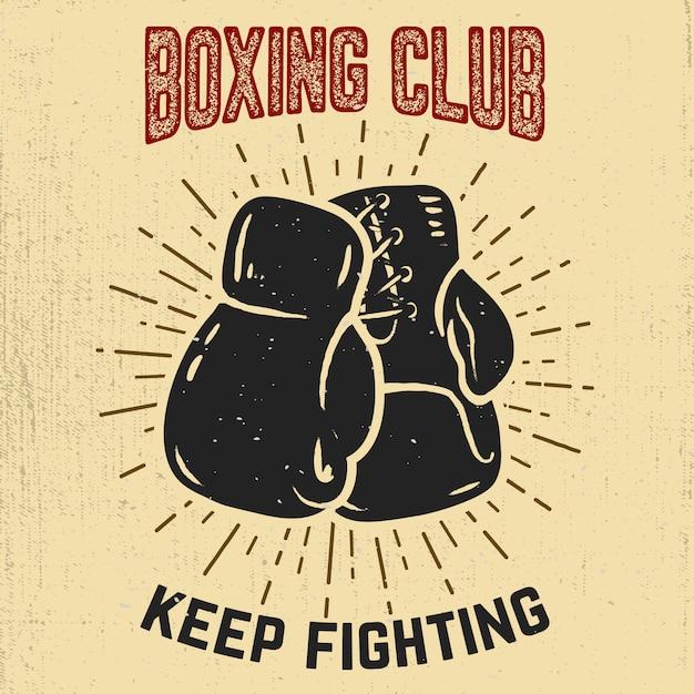 Plantilla de emblema del club de boxeo. guante de boxeo. elemento para etiqueta, marca, signo, cartel. ilustración Vector Premium