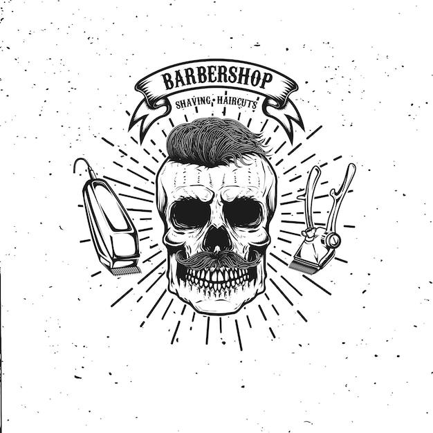 Plantilla de emblema de peluquería. cráneo de hipster con bigote. elemento para cartel, tarjeta, pancarta. ilustración Vector Premium