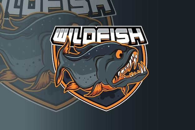 Plantilla de equipo de logo de wild fish e sport Vector Premium
