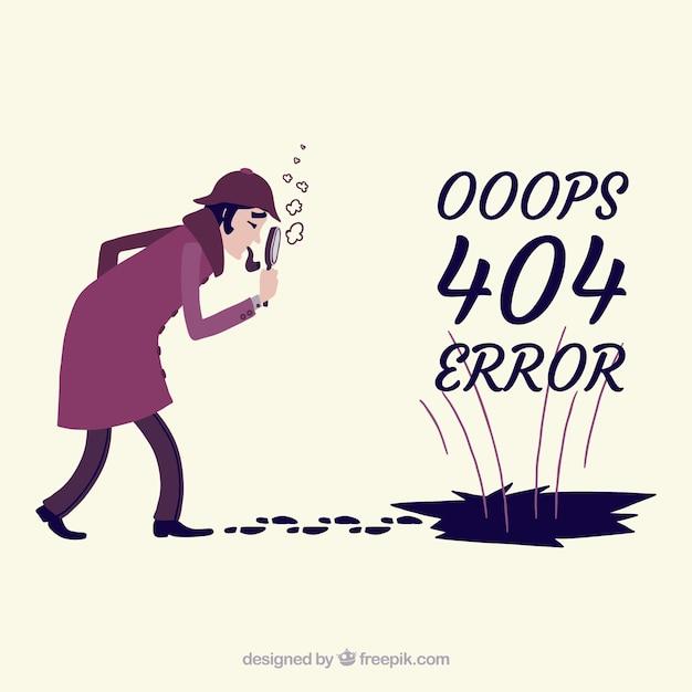 Plantilla de error 404 en estilo hecho a mano vector gratuito