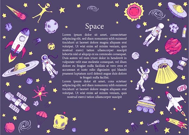 Plantilla de espacio dibujado a mano con astronauta, nave espacial, alien, satélite, cohete, universo, astronauta. Vector Premium
