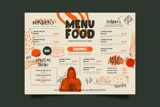 Plantilla especial de menú de comida de restaurante vector gratuito
