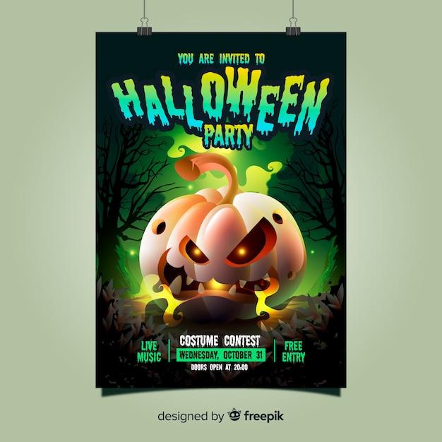 Plantilla espeluznante de póster de fiesta de halloween con diseño realista vector gratuito